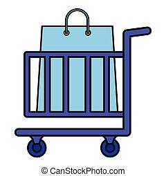 sacolas, carro shopping