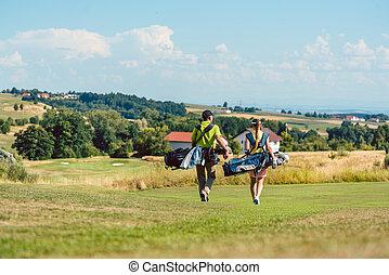 sacolas, cheio, golfe, par, comprimento, carregar, vista traseira