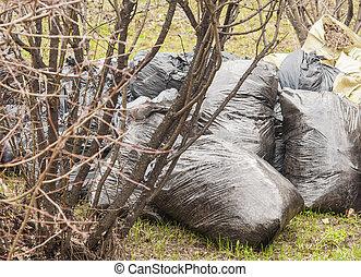 sacolas, cheio, pilha, Lixo, entulho