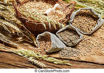 sacolas, closeup, grãos cereal
