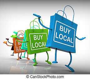 sacolas, compra, vizinhança, negócio, represente, mercado...