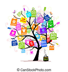 sacolas, conceito, shopping, árvore grande, venda, seu, desenho