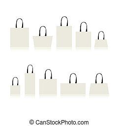 sacolas, desenho, shopping, isolado, seu