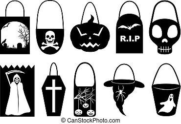 sacolas, diferente, jogo, dia das bruxas, truque, deleite, ou