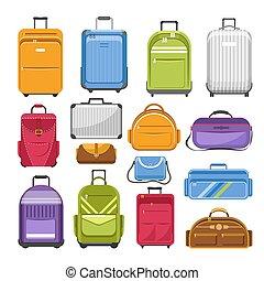 sacolas, diferente, tipo, modelos, de, viagem, moda, ou, shcool, e, sacola atletismos, apartamento, caricatura, ícones, jogo