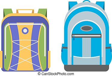 sacolas, escola, vetorial, isolado
