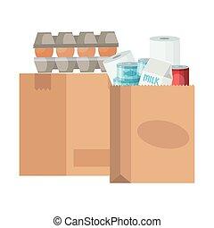 sacolas, excesso, mantimentos, papel