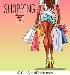 sacolas, jovem, espaço, fundo, shopping, mulher, texto