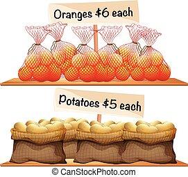sacolas, laranjas, batatas