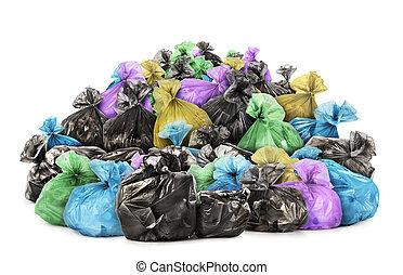 sacolas, lixo, isolado, pilha, fundo, branca