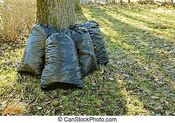 sacolas, lixo, plástico