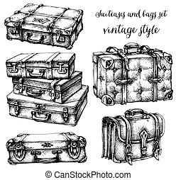 sacolas, malas, jogo, ícone