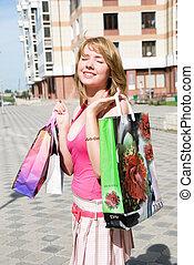 sacolas, menina, após, shopping