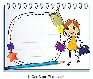 sacolas, menina, caderno, desenho, segurando