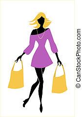 sacolas, menina, moda, shopping