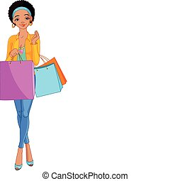 sacolas, menina, shopping, africano