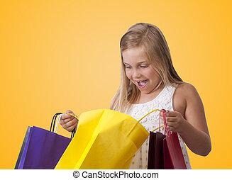 sacolas, menina, shopping