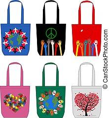 sacolas, moda, amor, paz, liberdade