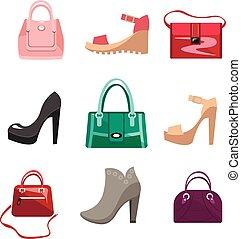 sacolas, moda, sapatos, mulheres