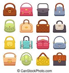 sacolas, mulher, ícones, set., vetorial, moda