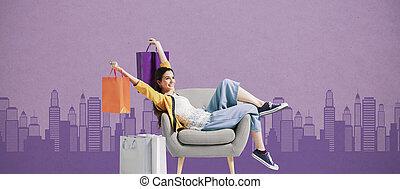 sacolas, mulher, alegre, shopping, shopaholic