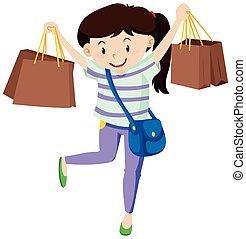 sacolas, mulher, papel, shopping