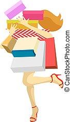 sacolas, mulher,  shopping