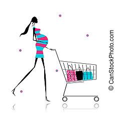 sacolas, mulher,  shopping, grávida, desenho, seu