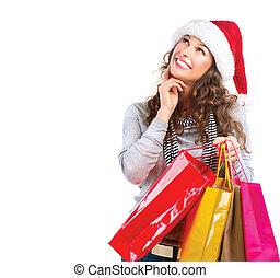 sacolas, mulher, sobre, vendas, shopping., white., natal