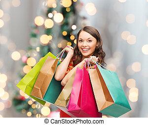 sacolas, mulher sorridente, shopping, coloridos