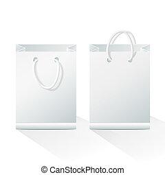 sacolas, papel, shopping, em branco