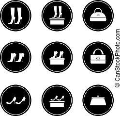 sacolas, pretas, sapatos, femininas, ícones