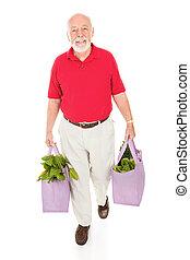 sacolas, sênior, mercearia, reutilizável