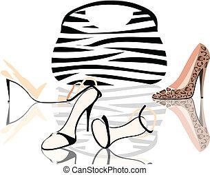 sacolas, sapatos