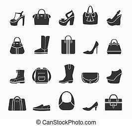 sacolas, sapatos, mulheres