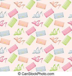 sacolas, sapatos, seamless, padrão