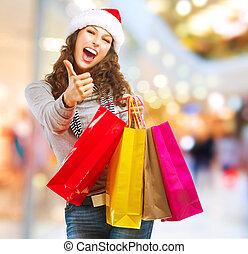 sacolas, shopping., centro comercial, menina, natal