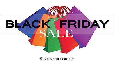 sacolas, shopping, coloridos, sexta-feira, papel, pretas, promoção