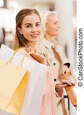 sacolas, shopping, jovem, centro comercial, mulheres felizes