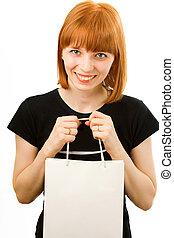 sacolas, shopping, jovem, fundo, menina, branca