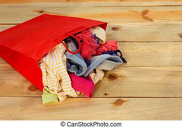 sacolas, shopping, madeira, quedas, experiência., papel, roupa mulheres, saída