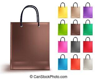 sacolas, shopping, marrom, set., cobrança, saco papel, vetorial, vazio