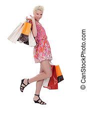 sacolas, shopping mulher