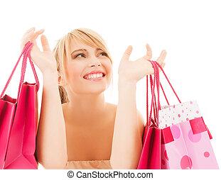 sacolas, shopping mulher, feliz, muitos