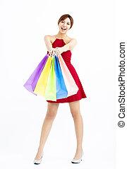 sacolas, shopping mulher, jovem, isolado, feliz