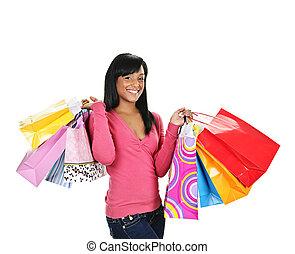 sacolas, shopping mulher, jovem, pretas, feliz