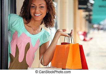 sacolas, shopping mulher, loja, partindo
