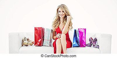 sacolas, shopping mulher, loura, retrato, grupo