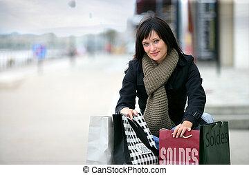 sacolas, shopping mulher, rua