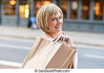 sacolas, shopping mulher, segurando